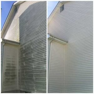 Curb Appeal Pros uses a low pressure washing system to rid your siding of mold and algae.