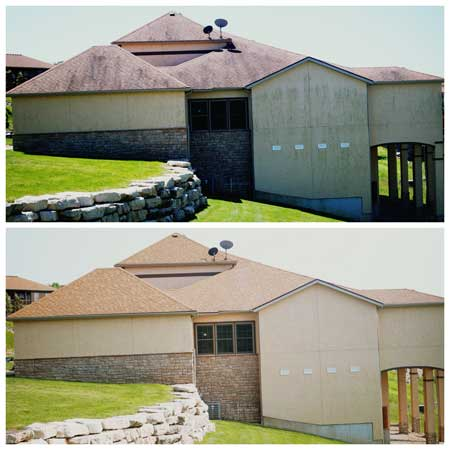 before and after of a commercial property cleaned by Curb Appeal Pros