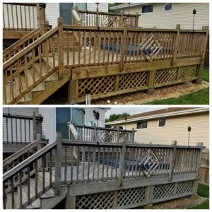 before and after a deck cleaning by Curb Appeal Pros