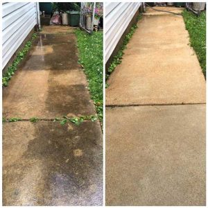 before and after of a concrete cleaning project