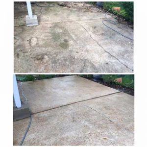 before and after of a clean patio using our concrete cleaning process