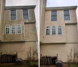 On the left, a moldy house before Curb Appeal Pros and on the right, the same house is sparkling clean